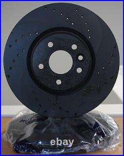 Fit Audi A6 04-11 Drilled & Grooved Brake Discs + Pads F 347mm Fast Road Upgrade