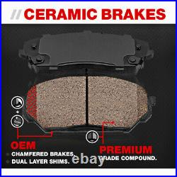 For 2003 2004 Infiniti M45 Front and Rear Disc Rotors Ceramic Brake Pads + Clips