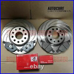 For Bmw 5 Series Front Brake Discs Zimmermann Grooved F10 10-15 & Brembo Pads